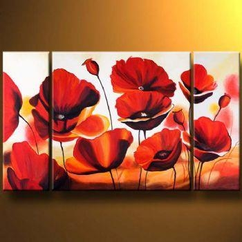 Carmine Poppies Modern Canvas Art Wall Decor Floral Oil Painting Within Poppies Canvas Wall Art (Image 6 of 20)