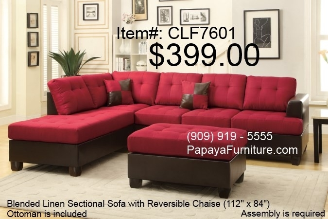 Carmine Red Sectional Sofa With Reversible Chaise And Ottoman Set Throughout Red Sectional Sofas With Ottoman (View 5 of 10)