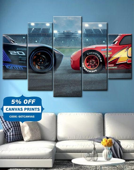 Cars Lightning Mcqueen Bedroom | Jacob's Bedroom Ideas | Pinterest Regarding Cars Theme Canvas Wall Art (Image 7 of 20)
