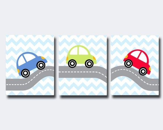 Cars Wall Art  Transportation Theme Boy Nursery Wall Art  Boy Pertaining To Cars Theme Canvas Wall Art (Image 9 of 20)