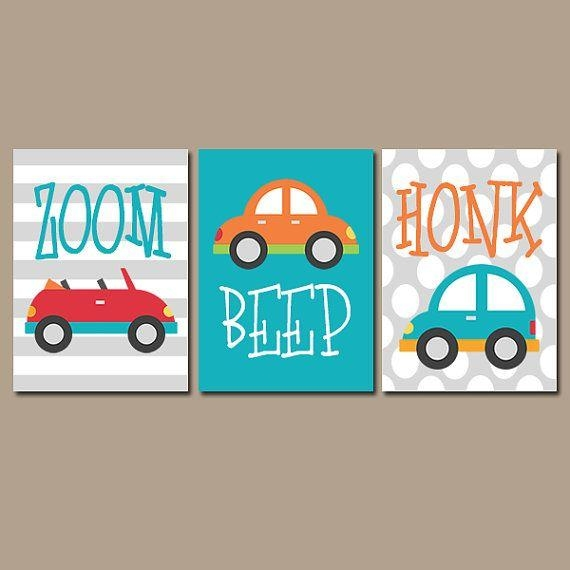 Cars Wall Art  Transportation Theme Boy Nursery Wall Art  Boy With Cars Theme Canvas Wall Art (Image 10 of 20)
