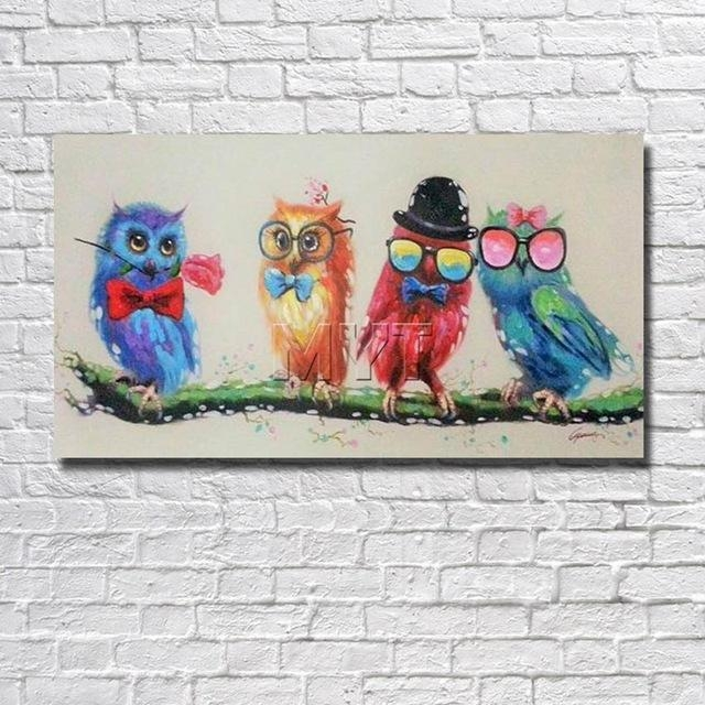 Cartoon Funny Birds Canvas Wall Art Oil Painting Decor Home Living Regarding Birds Canvas Wall Art (View 8 of 20)