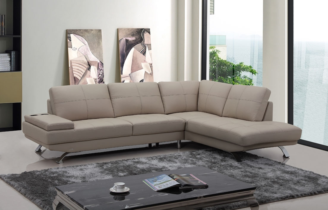 Casa Knight Modern Beige Leather Sectional Sofa Regarding Beige Sectional Sofas (Image 3 of 10)