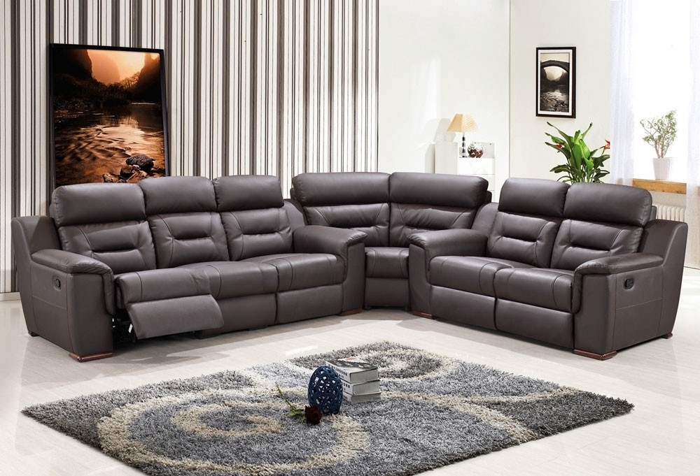 Catchy Grey Reclining Sectional Recliner Sofa Stoney With Design 9 Pertaining To Reclining Sectional Sofas (Image 1 of 10)
