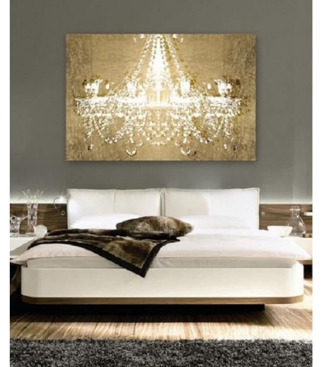 Chandelier On Gold Canvas Wall Art Regarding Chandelier Wall Art Inside Chandelier Canvas Wall Art (Image 6 of 20)