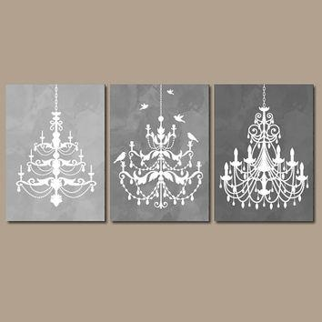 Chandelier Wall Art Canvas Or Prints Gray From Trm Design | Wall With Chandelier Canvas Wall Art (Image 7 of 20)