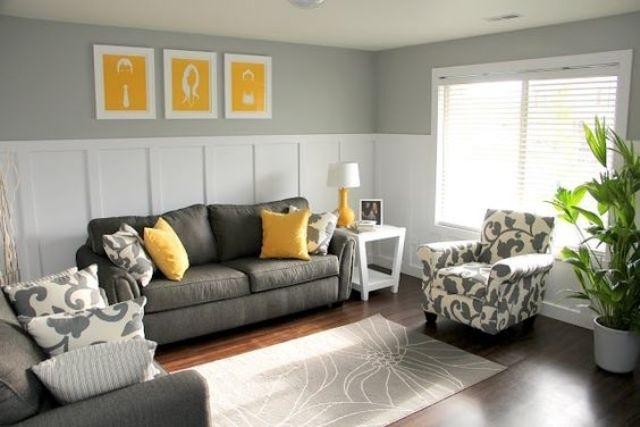 Charcoal Grey Sofa And Chair, Yellow Pillows And Art Pieces | House With Charcoal Grey Sofas (Image 5 of 10)