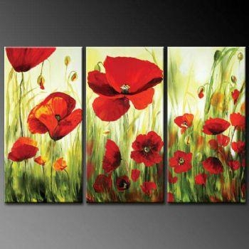 Charm Of Poppy Flowers Modern Canvas Art Wall Decor Floral Oil In Poppies Canvas Wall Art (Image 7 of 20)