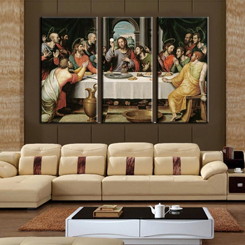 Cheap Modern Paintings 3 Piece Wall Art On Canvas Printed Oil Within Jesus Canvas Wall Art (Image 9 of 20)