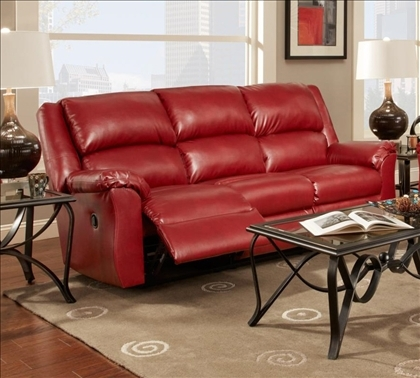Chelsea Home Arundel Reclining Sofa In Sierra Red Leather (View 3 of 10)
