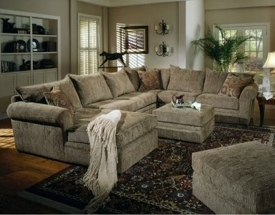 Chenille Fabric Oversized Sectional Sofa With Matching Ottoman Regarding Oversized Sectional Sofas (View 3 of 10)