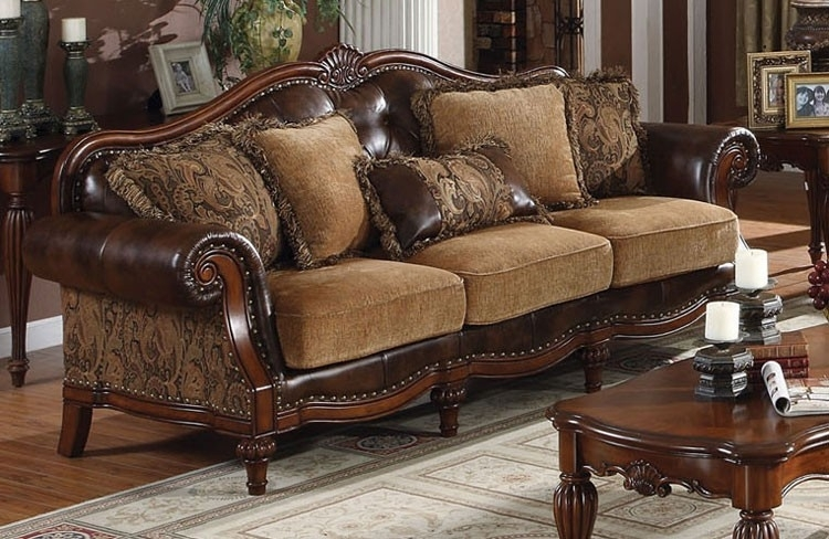 Chenille Fabric Victorian Sofa Regarding Victorian Leather Sofas (Image 5 of 10)