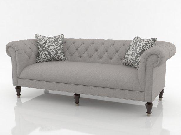 Chesterfield Sofa 3D Model | Bassett For Chesterfield Sofas (Image 3 of 10)