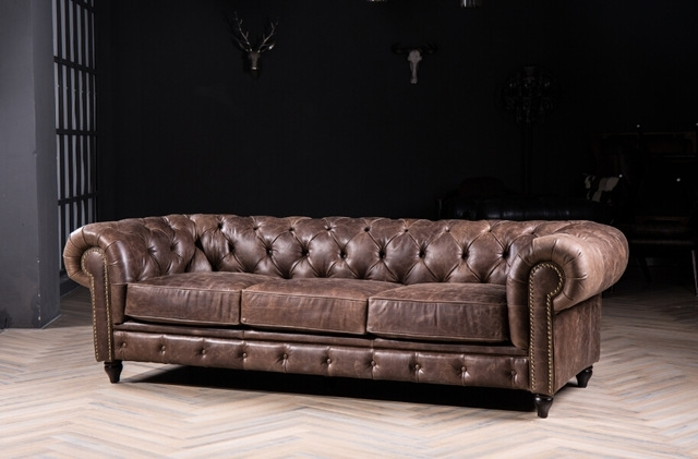 Chesterfield Sofa Classic Sofa With Vintage Leather For Antique With Vintage Chesterfield Sofas (Image 3 of 10)
