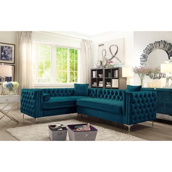 Chic Home Susan Elegant Velvet Tufted Left Facing Sectional Sofa Pertaining To Velvet Sectional Sofas (View 10 of 10)