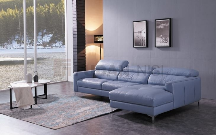 China Niagara Blue Leather Sectional Sofa With Duck Feather Cushions With Niagara Sectional Sofas (Photo 4 of 10)