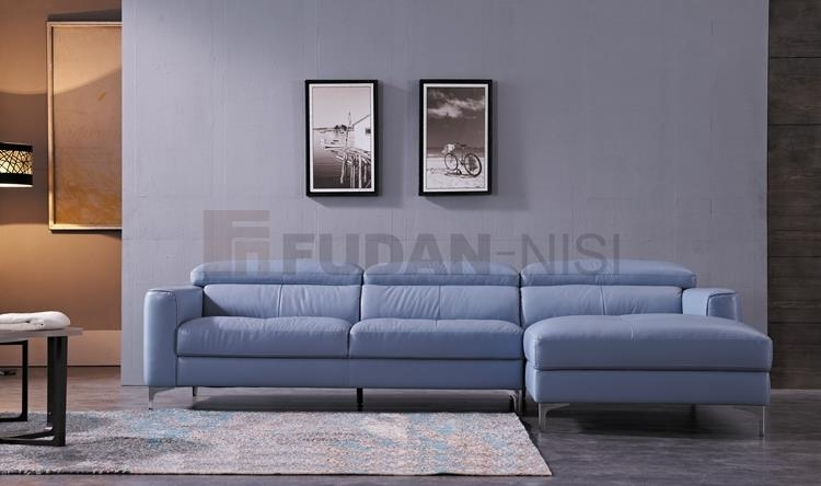 China Niagara Blue Leather Sectional Sofa With Duck Feather Cushions Within Niagara Sectional Sofas (View 8 of 10)