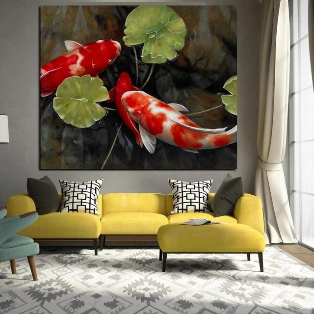 Chinese Koi Fish Lotus Canvas Prints Feng Shui Animal Landscape Within Koi Canvas Wall Art (View 9 of 20)