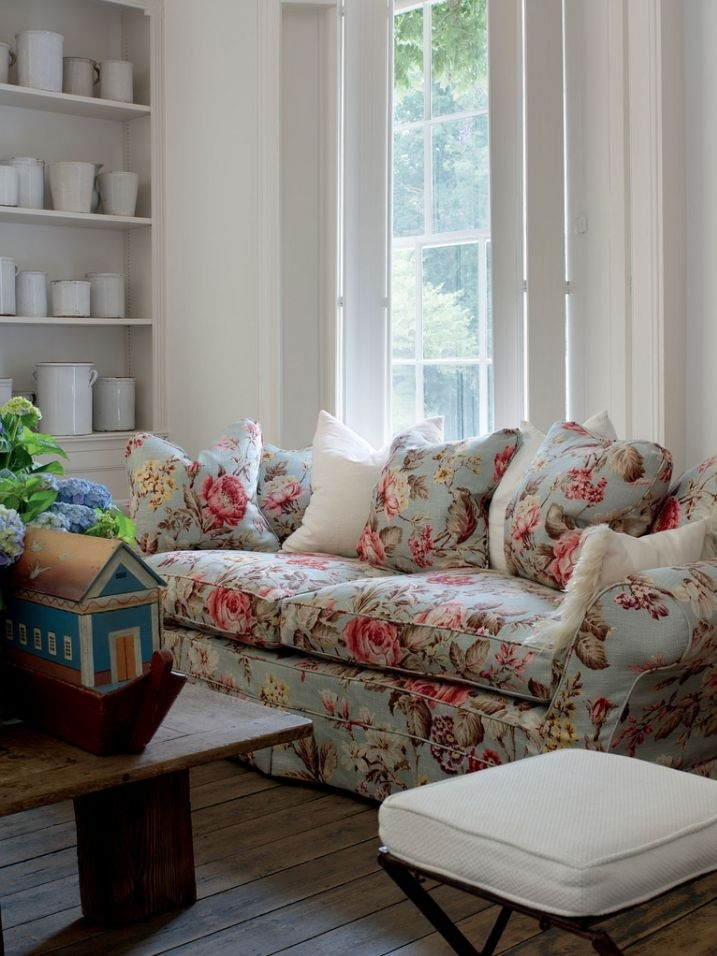 Chintz Couch English Country English Cottage Ironstone Floral Sofa In Yellow Chintz Sofas (Image 2 of 10)