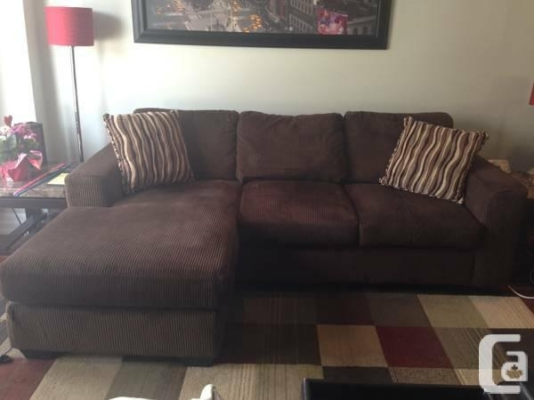 Chocolate Brown Nina Microsuede Sofa Chaise/ Love Seat** – For Sale For Peterborough Ontario Sectional Sofas (Image 7 of 10)