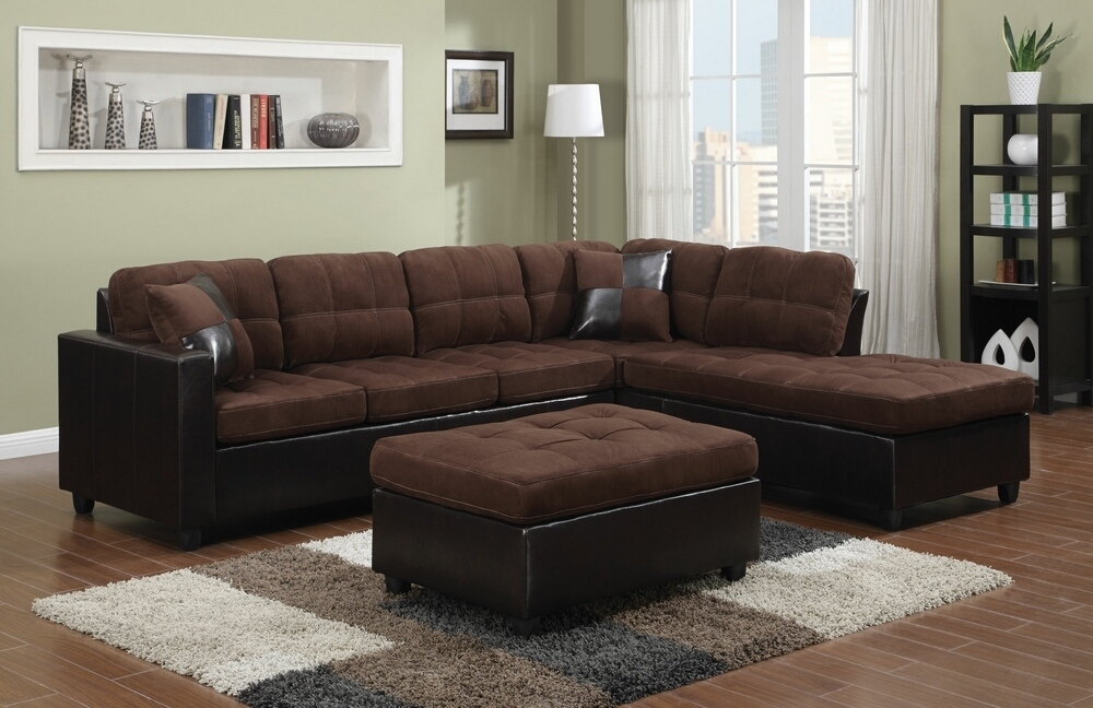 Chocolate Brown Sectional Sofa With Chaise Hotelsbacau Plus Intended For Chocolate Brown Sectional Sofas (Image 5 of 10)