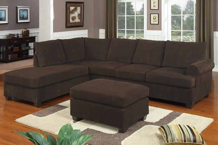 Chocolate Corduroy Sectional Sofa & Ottoman With Regard To Cheap Sectionals With Ottoman (Image 3 of 10)