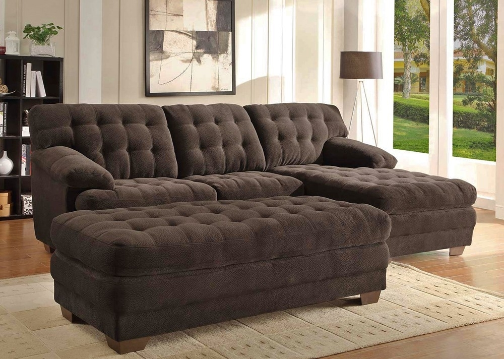 Chocolate Microfiber Sectional Sofa In Sofas With Chaise And Ottoman (Image 4 of 10)