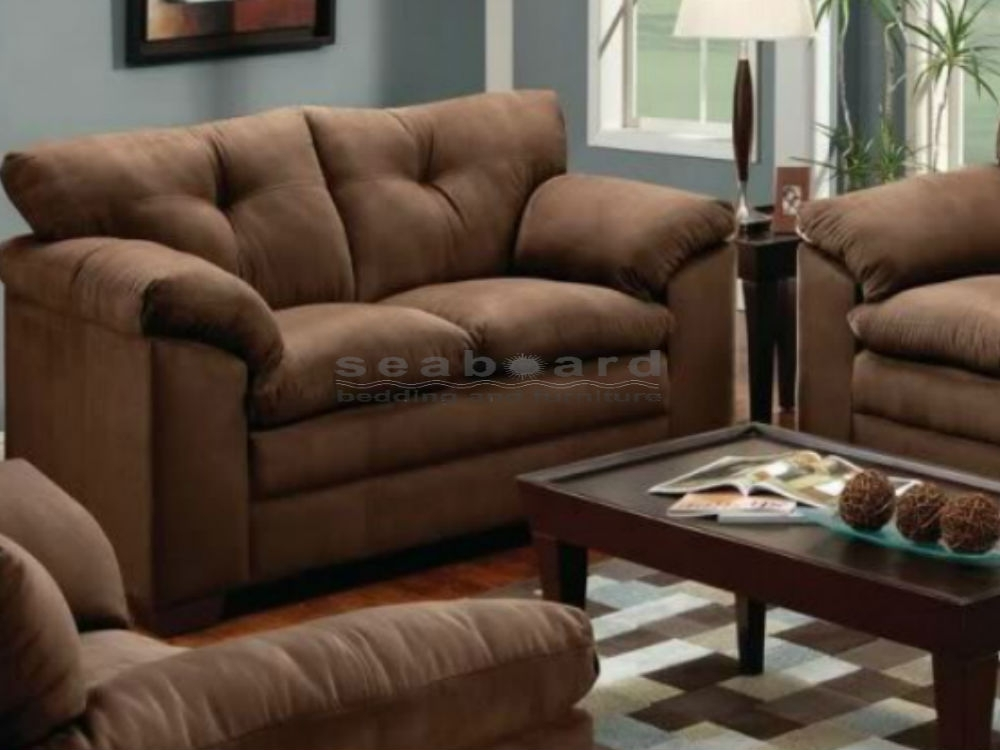 Chocolate Microfiber Sofa And Loveseat Set 6565 Throughout Casual Sofas And Chairs (Image 5 of 10)