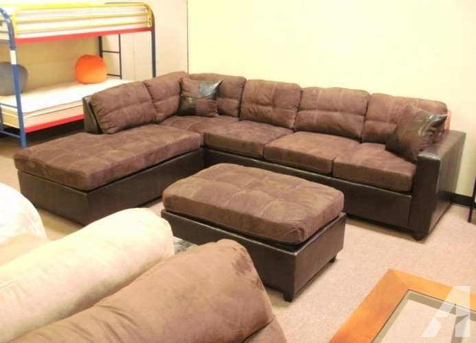 "Chocolate ""two Tone"" Microfiber Sectional / Sofa – New – (Denver Intended For Denver Sectional Sofas (Image 1 of 10)"
