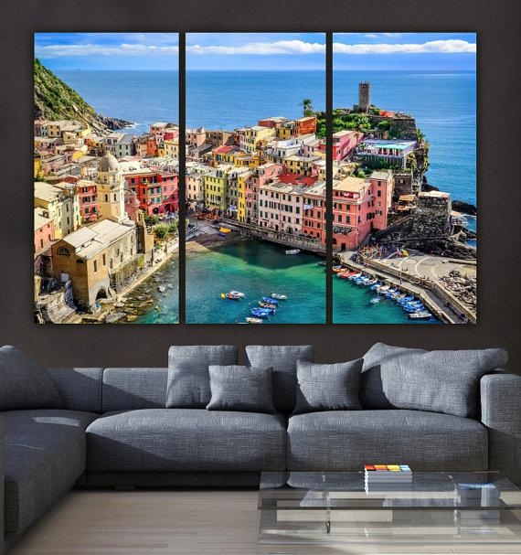 Cinque Terre Italy On Canvas Beautiful Large Canvas Print With Regard To Italy Canvas Wall Art (Image 10 of 20)