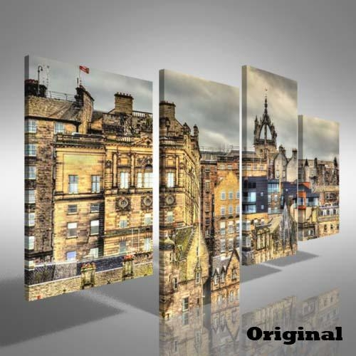 City Centre Of Edinburgh Offset Canvas Print Large Picture Wall For Edinburgh Canvas Prints Wall Art (Image 3 of 20)