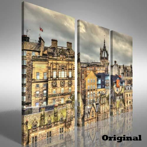 City Centre Of Edinburgh Treble Canvas Print Large Picture Wall For Edinburgh Canvas Prints Wall Art (Image 4 of 20)