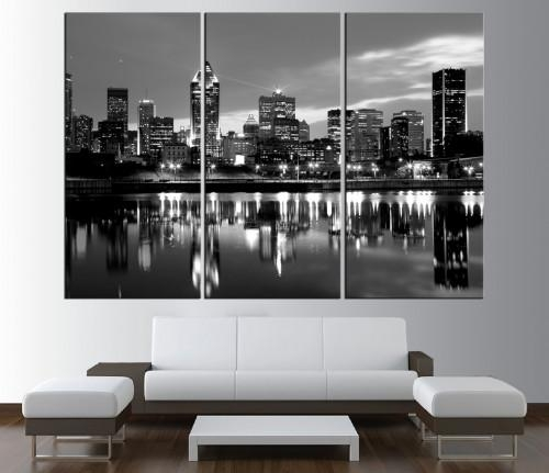 City Skyline Canvas Prints | Walldecal76 Artfire Shop Pertaining To Montreal Canvas Wall Art (Image 6 of 20)