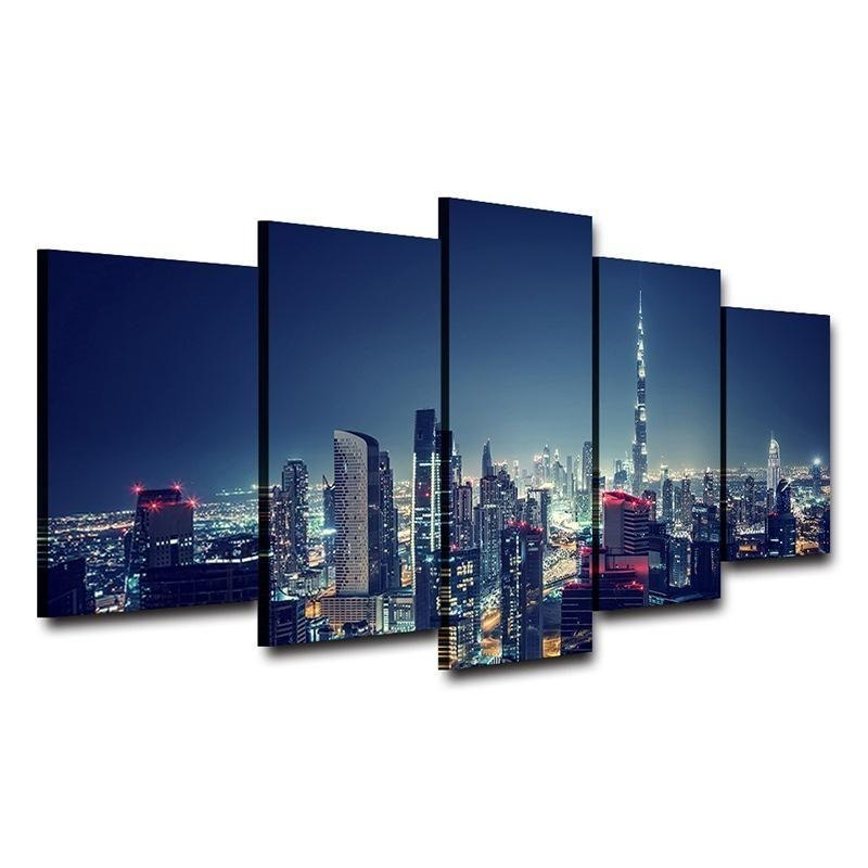 City Wall Art Hom — Http://homewalldeco/products/city Wall In Dubai Canvas Wall Art (Image 8 of 20)