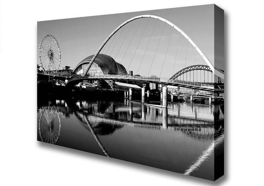 Cityscape B N W Millennium Bridge Gateshead Newcastle Canvas Art With Regard To Newcastle Canvas Wall Art (Image 5 of 20)
