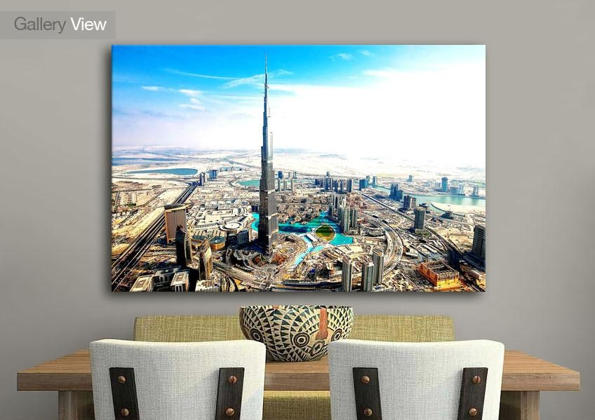 Cityscape Burj Khalifa Aka Burj Dubai Canvas Prints With Regard To Dubai Canvas Wall Art (Image 9 of 20)