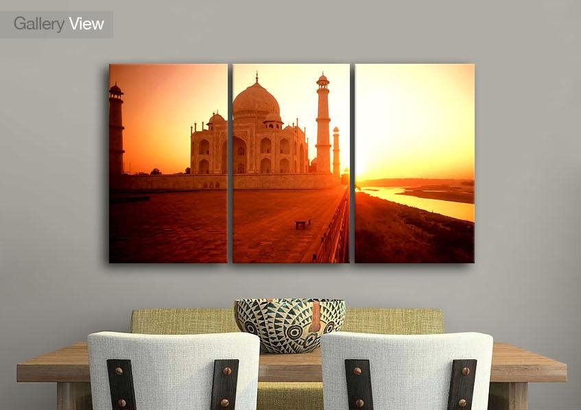 Cityscape Three Panel The Taj Mahal At Sunset India Canvas Prints Throughout India Canvas Wall Art (Image 5 of 20)