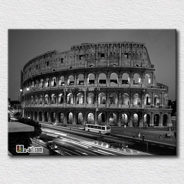 Classical Canvas Painting Of The Roman Colosseum Black And White With Canvas Wall Art Of Rome (Image 9 of 20)