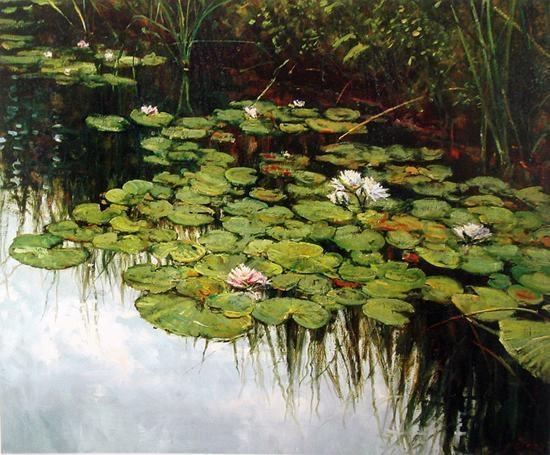 Claude Monet Canvas Impressionist Wall Painting The Lotus Flower Regarding Monet Canvas Wall Art (Image 5 of 20)