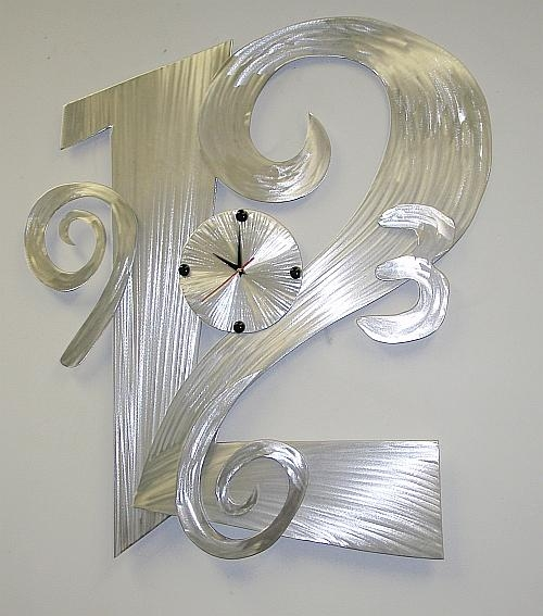 Clock,clocks,contemporary Wall Clocks,brushed Aluminum Clocks And Throughout Abstract Metal Wall Art With Clock (Image 7 of 20)