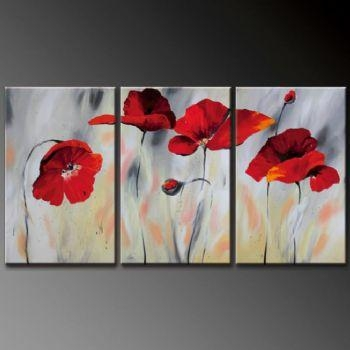 Cloudy Poppies I Modern Canvas Art Wall Decor Floral Oil Painting Throughout Poppies Canvas Wall Art (Image 8 of 20)