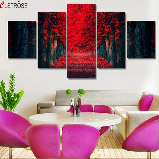 Clstrose 5 Pcs Wall Art Beautiful Red Forest Modern Wall Painting In Red Canvas Wall Art (Image 7 of 20)