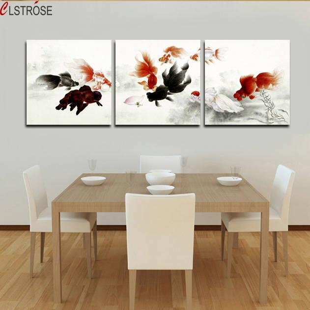 Clstrose Top Fashion Real Square No Canvas Art Free Shipping With Regard To Koi Canvas Wall Art (View 19 of 20)
