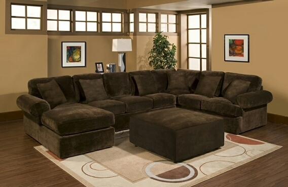 Cmi 31553 3 Pc Bradford Sectional Sofa With Chocolate Plush Velour Inside Chocolate Brown Sectional Sofas (Image 6 of 10)