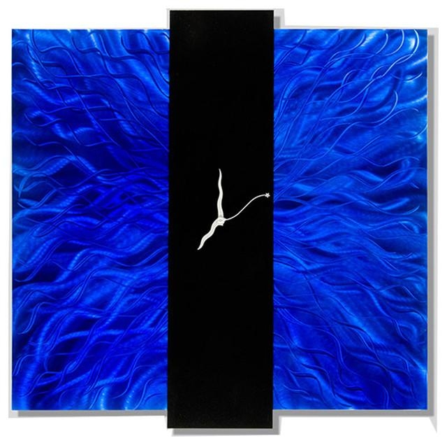 Cobalt Blue Wall Art – Tehno Art Regarding Abstract Metal Wall Art With Clock (Image 9 of 20)