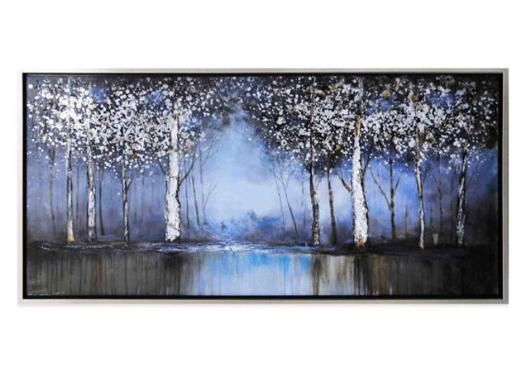 Cobalt Tree Hand Painted Canvas Wall Art From Bed Bath And Beyond Inside Rectangular Canvas Wall Art (Image 2 of 20)