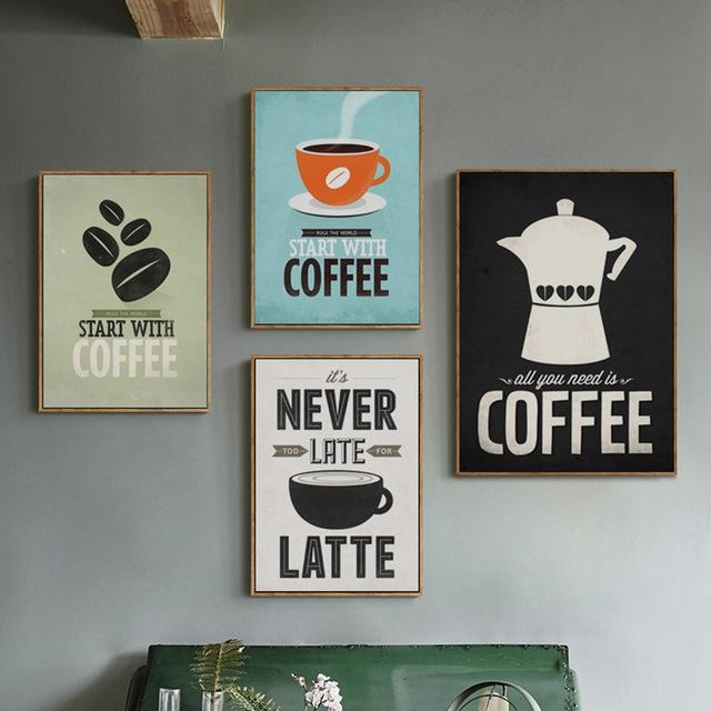 Coffee Canvas Painting Print Poster Cafe Modern Art Canvas Regarding Coffee Canvas Wall Art (Image 8 of 20)