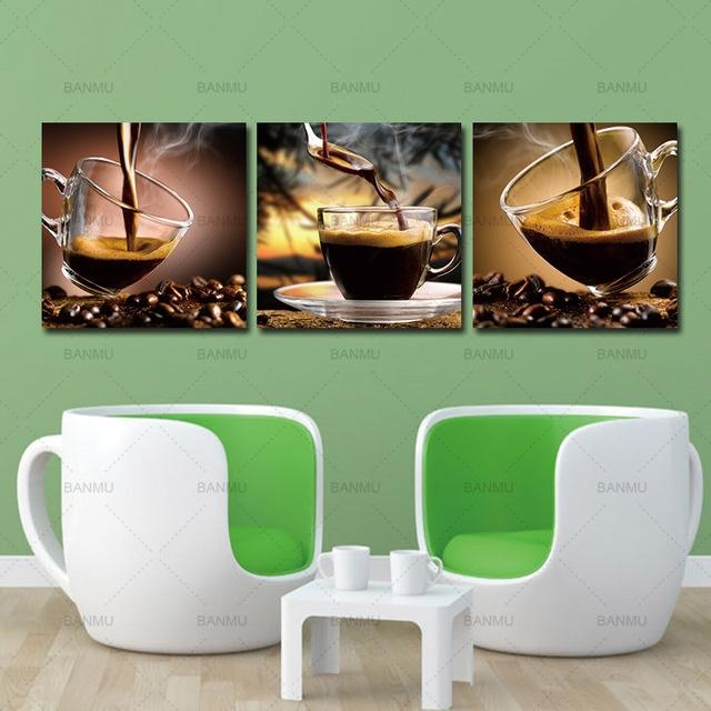 Coffee Canvas Wall Art Painting Coffee Cup Triptych Canvas Art Within Coffee Canvas Wall Art (Image 9 of 20)