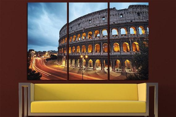 Coliseum At Night Rome Canvas Wall Art Multi Panel Set Rome With Canvas Wall Art Of Rome (Image 10 of 20)