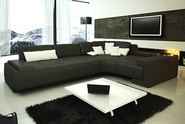 Collection Modern Sectional Sofa – Black Tos Lf 1007 Black Throughout Modern Sectional Sofas (Image 2 of 10)